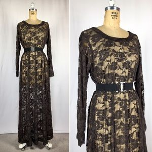 70's Goth Sheer Floral Lace Long Sleeve Maxi Dress